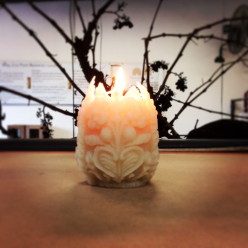 pure beeswax carved egg shaped candle
